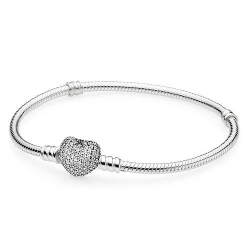 Pandora Moments Silver Bracelet with Pavé Heart Clasp 18cm