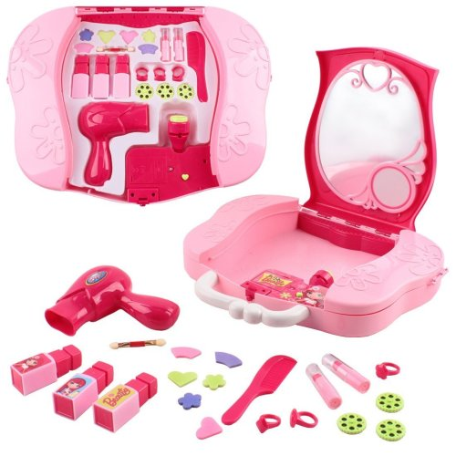 deAO Toys So Fashion You Vanity Dressing Table Mini Carry Case Portable Role Play Set with Accessories and Real Action Projector