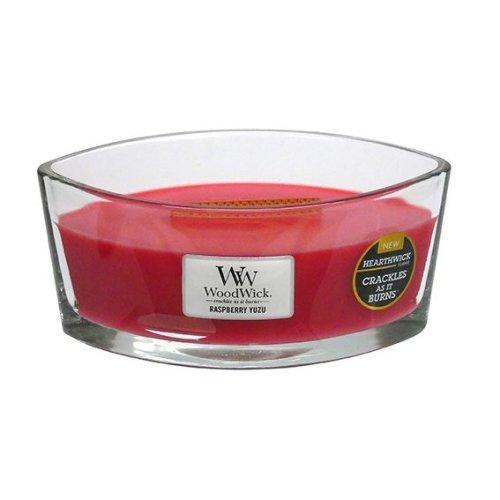 WoodWick 16oz HearthWick Jar Candle With Wooden Lid Raspberry Yuzu