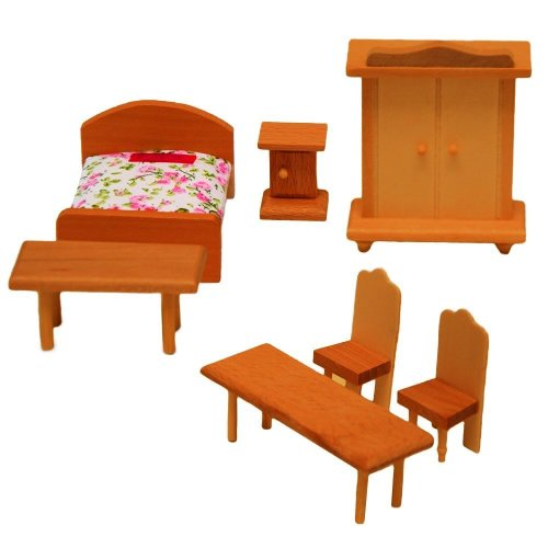 eyepower Bedroom for dollhouse | 7 pieces Furniture made of wood | Miniature wooden furnishing for dolls house
