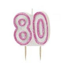 Age 80 Birthday Candle Pink Glitz