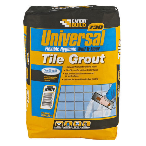Everbuild 730 Universal Flexible Hygenic Wall And Floor Tile Grout Grey 10kg