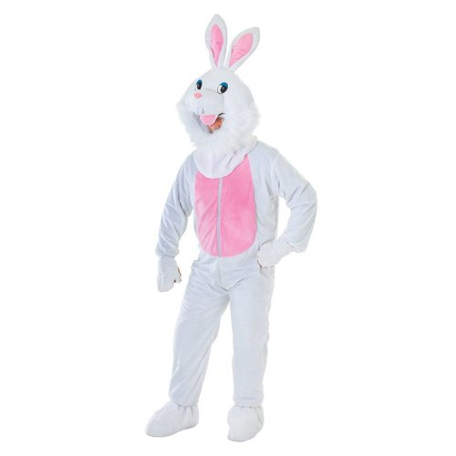 White Adults Big Head Rabbit Costume -  big head fancy dress rabbit costume adult mascot easter bunny animal white ac464 outfit fur trim