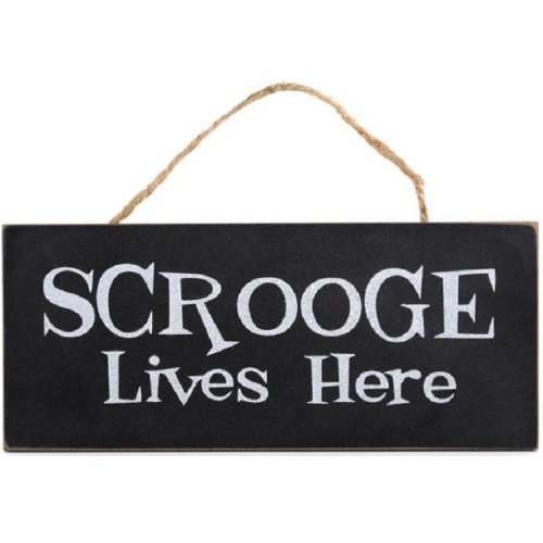 Scrooge Lives Here Wooden Hanging Sign Plaque Wall Door Christmas Novelty Gift