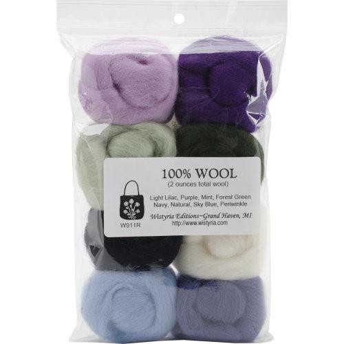 """Wistyria Editions Wool Roving 12"""" .25oz 8/Pkg-Hydrangeas"""