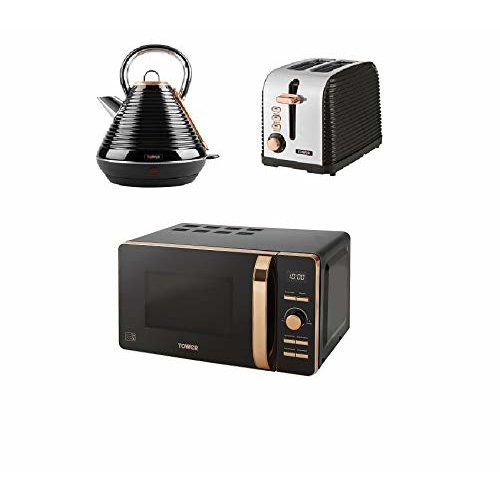 Rose Gold Digital Solo Microwave, a 1.8L S/S Pyramid Kettle a 2 Slice Toaster