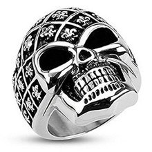 Decorated Fleur De LIs Skull Wide Cast Surgical Steel 30mm Width Ring