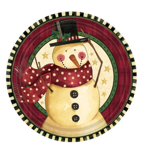 Christmas Paper Plates.Pack Of 8 Cozy Snowman 7 Paper Plates Christmas Party Tableware