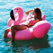 Pacago Giant Inflatable Flamingo Pool Float, Outdoor Swimming Pool Floatie Float Lounge Toy Bed with Rapid Valves For Adults & Kids (Flamingo, Double)