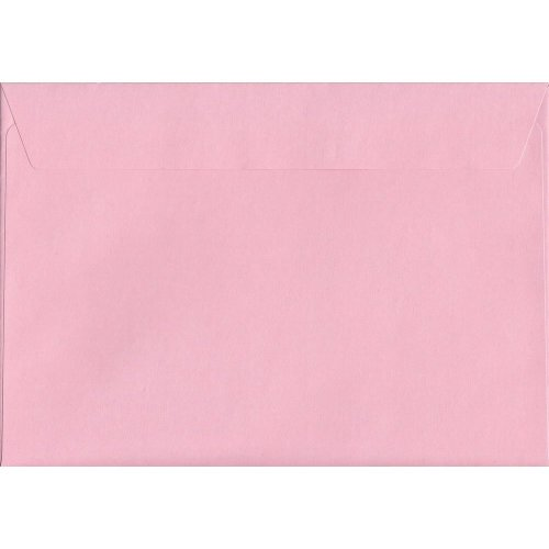 Baby Pink Peel/Seal C4/A4 Coloured Pink Envelopes. 120gsm FSC Sustainable Paper. 229mm x 324mm. Wallet Style Envelope.