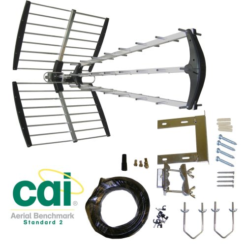SAC Electronics - 64 Element triple boom CAI approved digital aerial kit, with intergrated 4G/LTE filter.