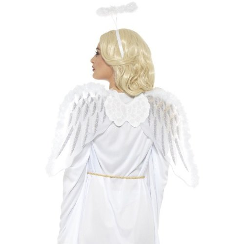 Pure Angel Set, White, With Glitter Wings & Marabou Halo, 70x45cm / 28x18in -  white angel set 70x45cm glitter wings halo ladies fancy dress accessory