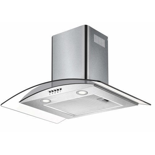 CIARRA Wall Mount Cooker Hood 60cm 550 m³/h Grease Filters Glass & Stainless Steel Decorative Chimney Ducting Pipe Range Hoods