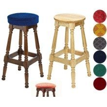 Tamara Wood Bar Stool - Padded / Unpadded Burgundy Fabric Piped Upholstery Light Oak