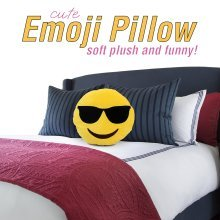 Emoticon Pillow - Cool Sunglasses - Stuffed Cute Soft Plush Funny and Very Comfortable - Perfect Fun Item for All Ages