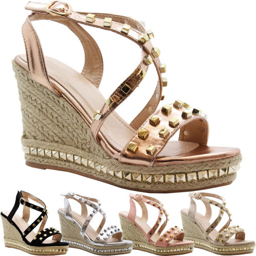 61b3983bc06b07 Women High Wedge Strappy Studded Espadrilles Shoes on OnBuy
