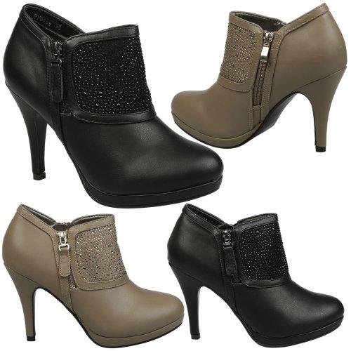 Alayna Womens High Stiletto Heel Platform Diamante Ankle Boots