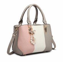 (Grey) Miss Lulu Women's Striped Colour Block Bag