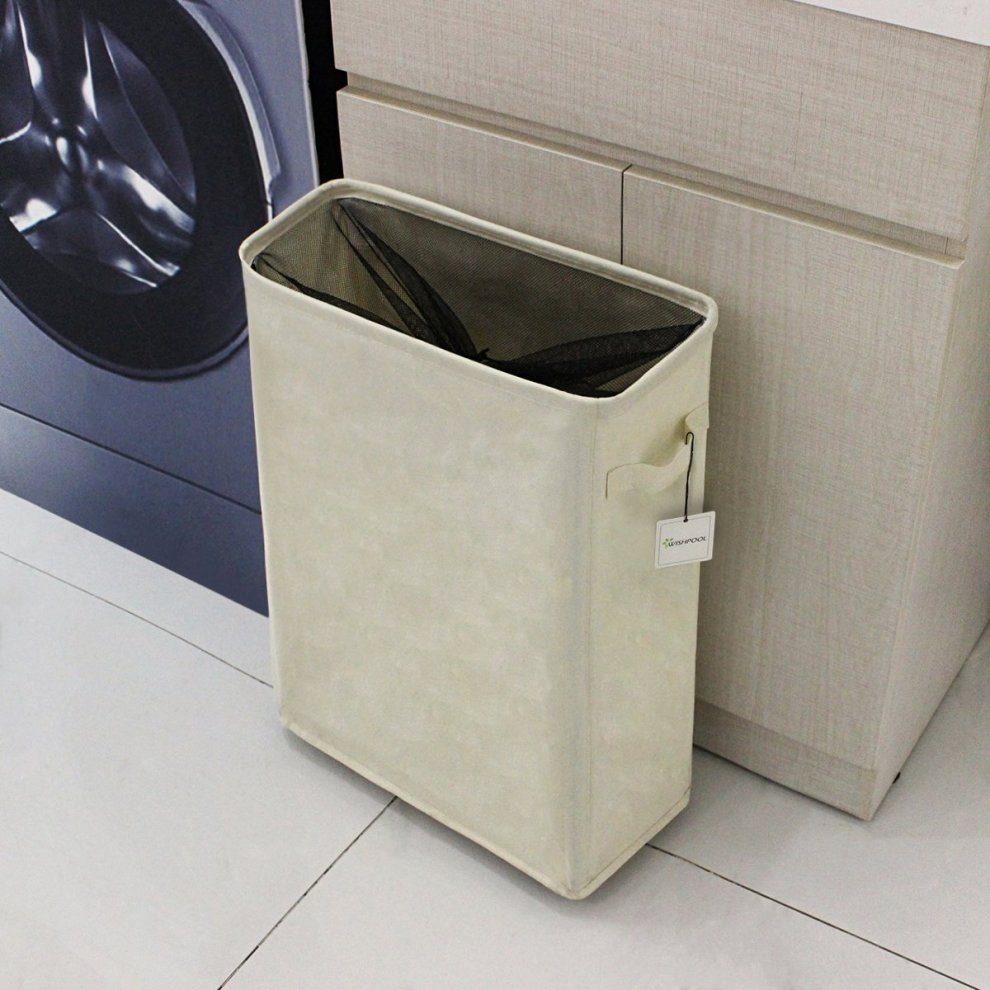 Wishpool Slim Laundry Basket On Wheels Collapsible Fabric