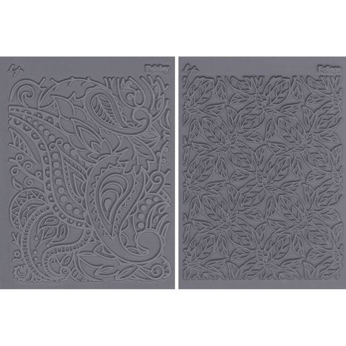 "Lisa Pavelka Texture Stamp Set 4.25""X5.5"" 2/Pkg-Flow - Foliage & Paisley"