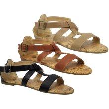 Ladies Flats Strappy Gladiator Peep Toe Sandals