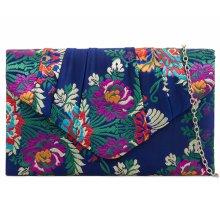 Clutch Bag Satin Navy Blue Floral Evening Shoulder Bag Ladies Handbag