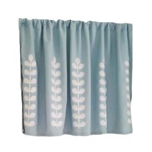 [Blue Leaves]Short Kitchen Cloth Curtain Small Window Half Curtain Cafe Curtain