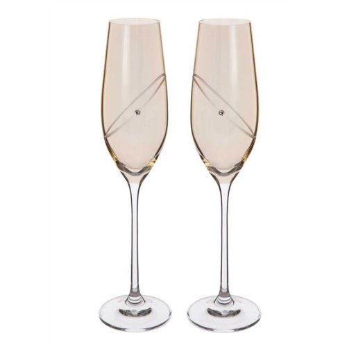 50th Anniversary Golden Wedding Pair of Champagne Flutes by Dartington Crystal ST2663/5/GD/P
