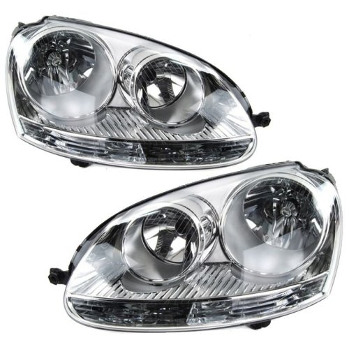 Volkswagen Golf Mk5 5/2004-2009 Headlights Headlamps 1 Pair O/s & N/s