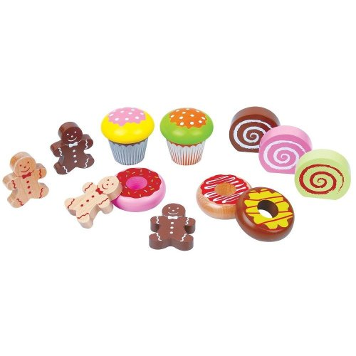 Lelin Tea Time Party Toy Wooden Cake Cupcake Muffin Dessert For Childrens
