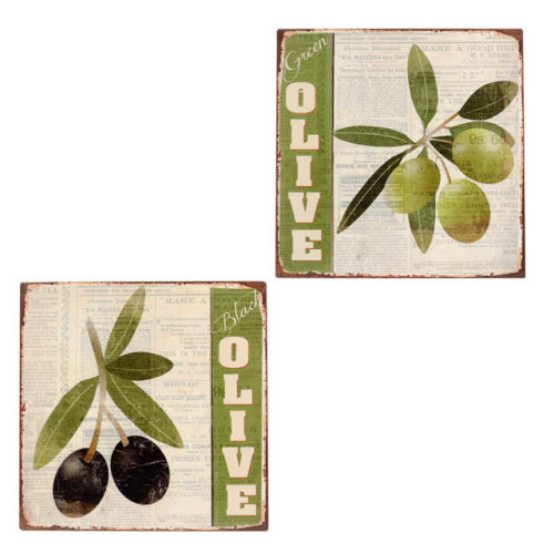 Pack of 2 Decorative Metal Wall Plaques - Black/Green Olives - 30cm - Gifts