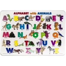 """Painless Learning Laminated Placemats 17.5""""X12.25""""-Alphabet And Animals"""