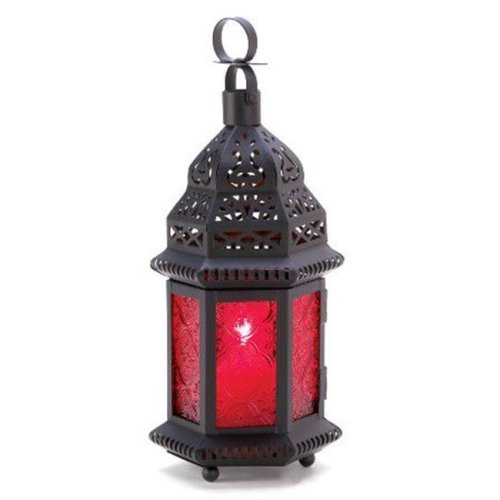 Zingz & Thingz 57070451 Red Moroccan Style Candle Lantern