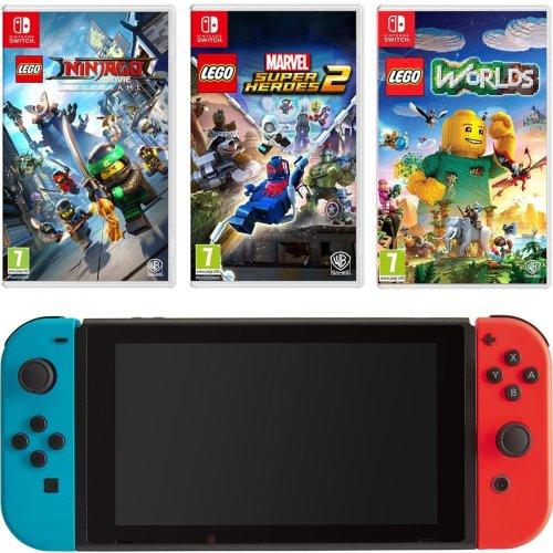 Nintendo Switch Neon Red/Blue + 3 Lego Games Bundle