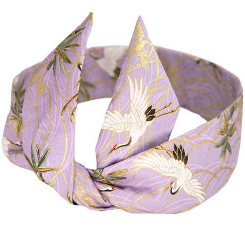 Adjustable Bow Japanese Styles Cross Hair Band Headband For Women, Purple,Crane #1