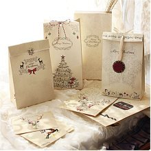 8Pcs Kraft Paper Xmas Wedding Bags