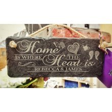 Personalised Home is Where The Heart is - Hanging Slate Sign - 25x12cm