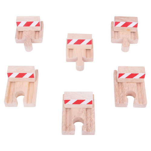 Bigjigs Rail Wooden Buffers (Pack of 6) - Other Major Wood Rail Brands are Compatible
