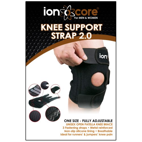 """ionocore knee brace with open patella cushioned support, lateral stabilisers and 3 straps. Fully adjustable to 18"""" circumference."""