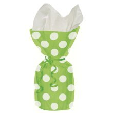Unique Party Dots Cello Bags - Lime Green - Polka Dot Cellophane 20 Gift Loot -  bags party polka dot cellophane 20 gift loot birthday treat green