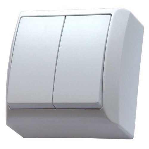 Surface Mounted Double Big Button Indoor Light Switch Click Wall Plate