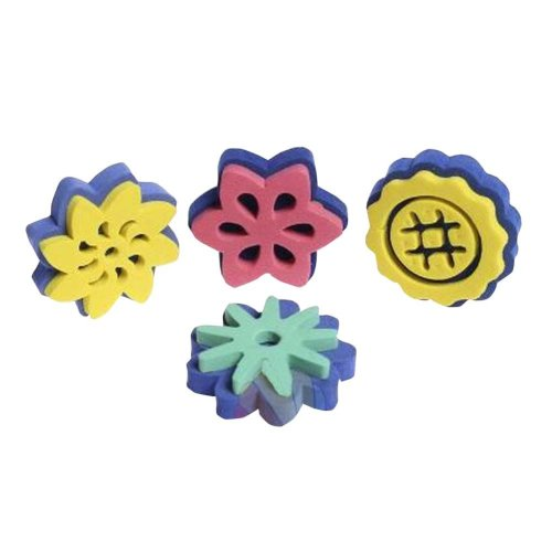 Set of 4 [Lovely Flora] Sponge Kids Early Learning Painting Brushes