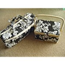 Black and White Rectangular Sewing Box and Zipped Knitting Storage Bag