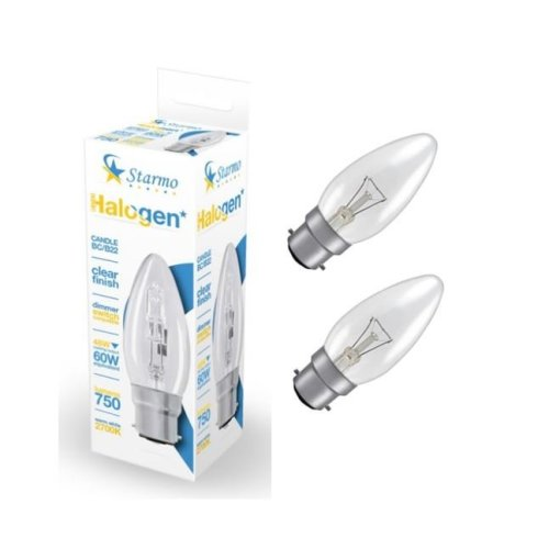 2 X Starmo 48W = 60W Bc/B22 Candle Long Life Clear Eco Halogen Light Bulbs Dimmable Energy Saving 750 Lumens