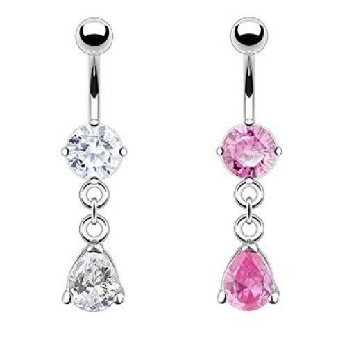 Prong Set Crystal with Hanging Pear Cut Crystal Belly Bar