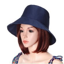 Women Foldable Cotton Bucket Hat Pure Color Travel Casual Sunshade Basin Cap