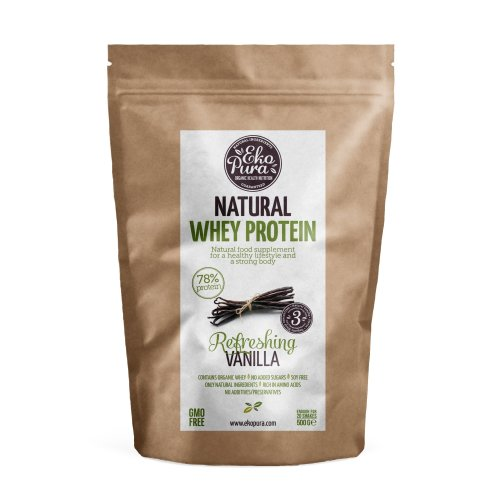 Natural Whey Protein - Vanilla - 78% Protein, Organic Whey - 500g
