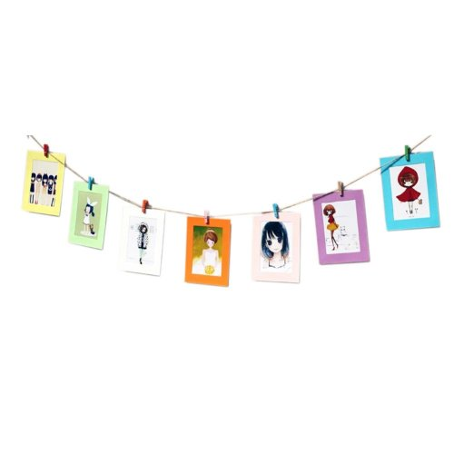 Multi-Color Wall Decor Photo Frame with Mini Wooden Clips & Hemp Rope