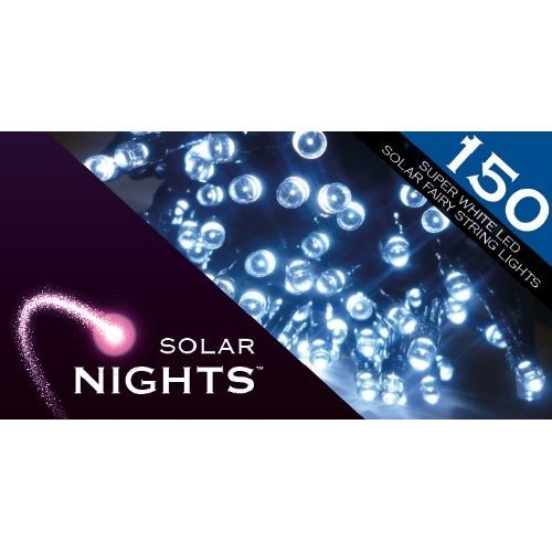 Solar Nights Fairy Bright Lights White 150 Ice White Super LEDs Overall length - 15m/12h