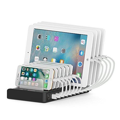 Multi Device Charging Station, Detachable Universal Multi-Port USB Charging Station 60W 10-Port USB Charging Dock Desktop Charging Stand Organizer...